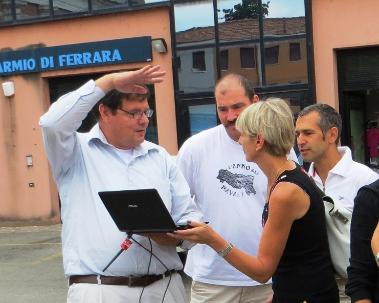 Walter Volkmann explaining to the Mayoress of Mirabello, Italy, how small uavs can work in assessing earthquake damage