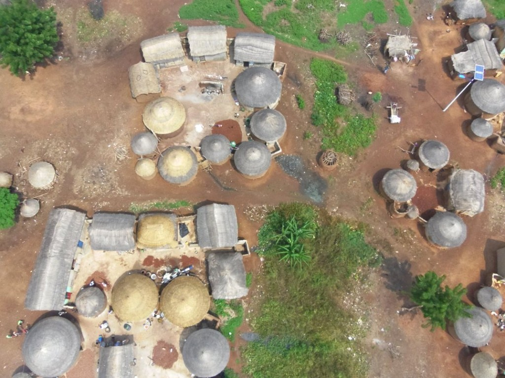 uav photograph of a village in ghana