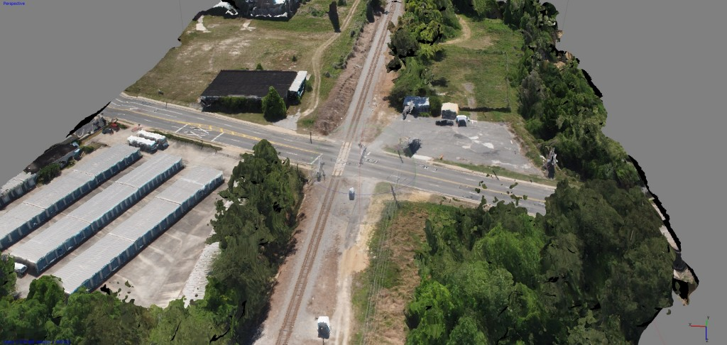 3D model created by Micro Aerial Projects of railroad crossing