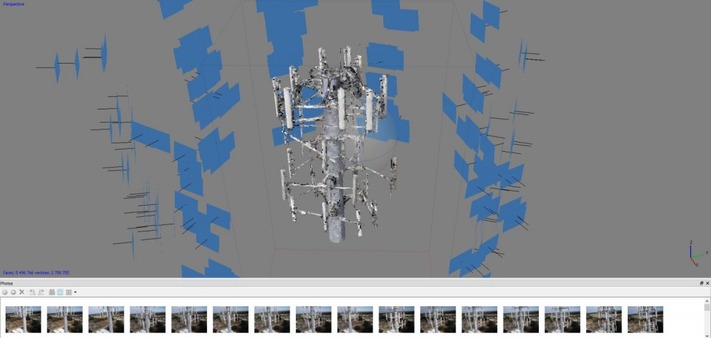 spatial distribution of Micro Aerial Projects UAV acquired images to produce a 3-D model of the antenna cluster on a cell phone tower, central Florida, USA