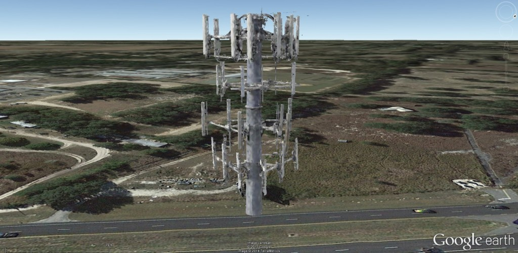3D model of a cell phone tower antenna cluster rendered in Google Earth, created from UAV imagery taken by Micro Aerial Projects during a cell phone tower inspection