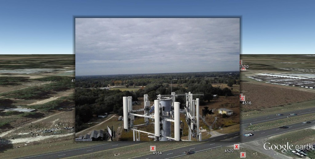 UAV image of a cell phone tower antenna cluster taken by Micro Aerial Projects, then rendered in first person view and georeferenced on Google Earth