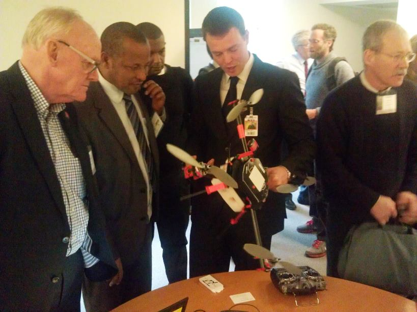 Oliver Volkmann explaining small uavs at the World Bank conference on Land and Poverty
