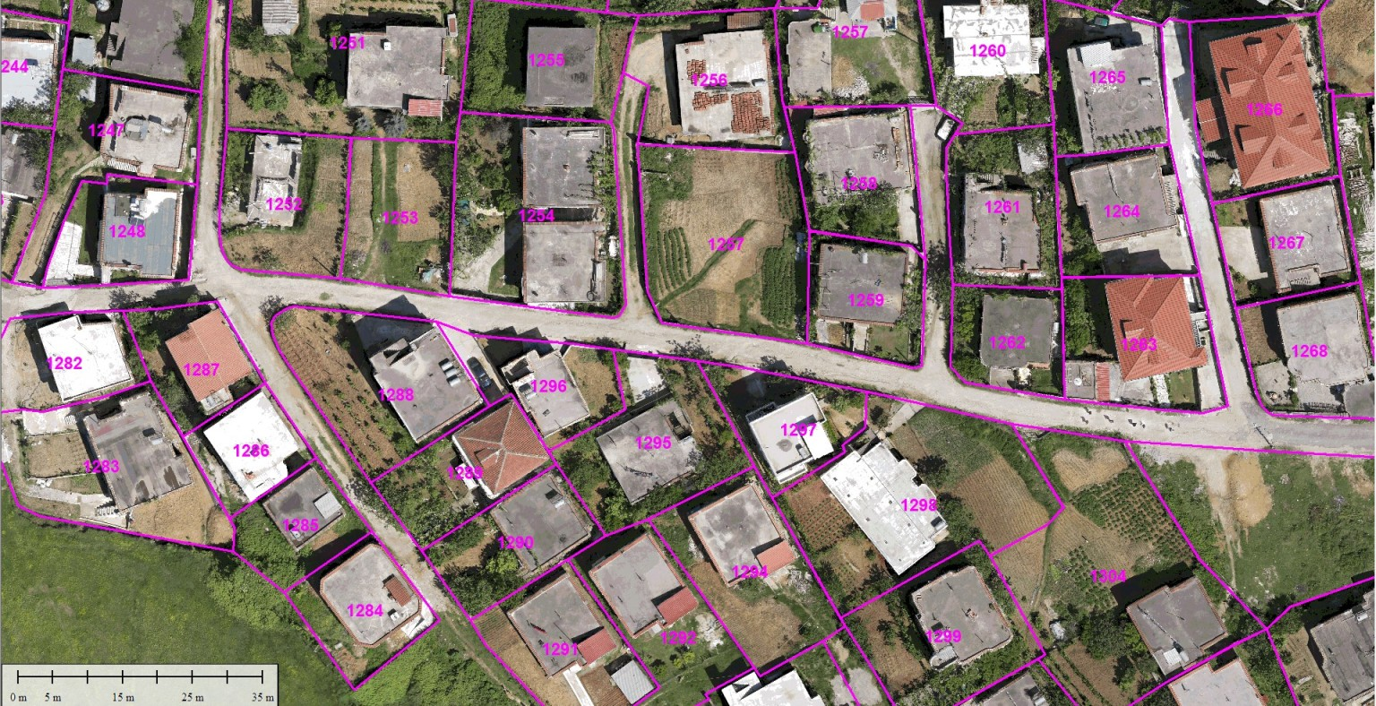 cadastral boundary layer on uav orthophoto generated by Micro Aerial Projects, a uav mapping company