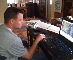 Oliver Volkmann planning a uav flight mission with the Bateleur uav